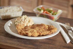 Filé de frango à milanesa Filé de frango à milanesa com arroz branco, feijão carioca e mix de legumes ou salada russa.    Fazer Pedido!